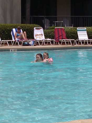 Aidan and Maggie in the pool
