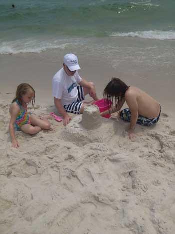 Sandcastle under construction