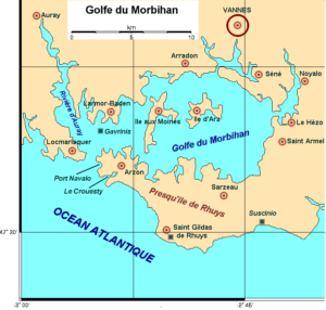 Map of the Golfe of Morbihan showing the location of Gavrinis