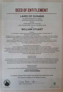 Deed of Entitlement as Laird of Dunans Certificate